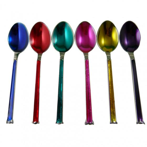 Set de 6 cuillères thé multicolores