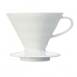 Porte filtre Dripper Hario V60 en céramique blanche 1 à 4 tasses