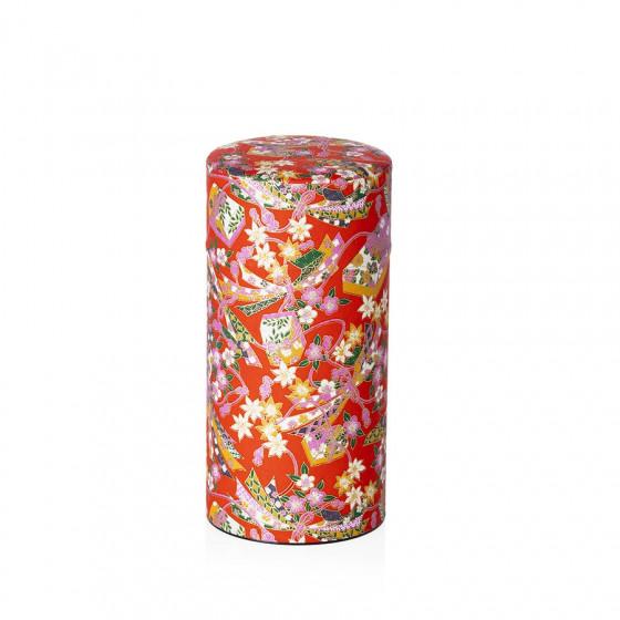 Boîte à thé vide rouge à motifs japonais 200g