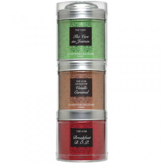 Tubo 3 petites boîtes de thés noirs et verts Jasmin, Vanille Caramel, Breakfast 90g