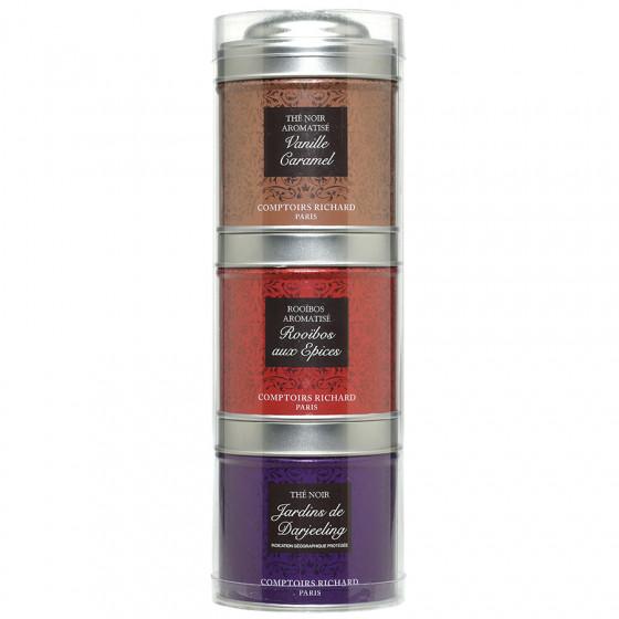 Tubo 3 petites boîtes de thés noirs Vanille Caramel, Darjeeling et Rooïbos aux Epices 95g