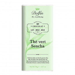 Tablette de chocolat au lait 38% thé vert sencha 70g