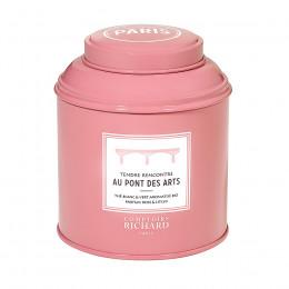Thé blanc & vert aromatisé bio parfum rose & litchi Tendre Rencontre au Pont des Arts boîte métal vrac 90g