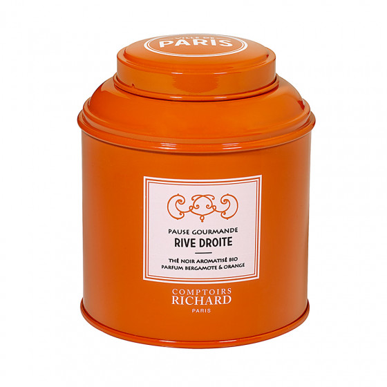 Thé noir aromatisé bio parfum bergamote & orange Pause Gourmande Rive Droite boîte métal vrac 100g