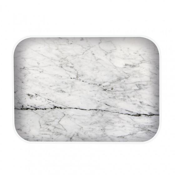 Plateau rectangulaire imitation marbre gris