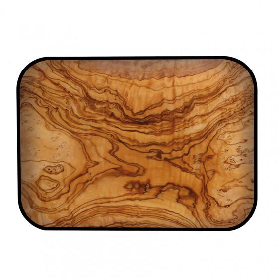 Plateau rectangulaire imitation bois d'olivier