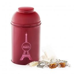 Boîte gourmande Tour Eiffel en métal laqué bordeaux garnie de confiseries 265g