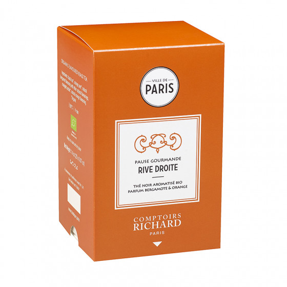 Thé noir aromatisé bio parfum bergamote & orange Pause Gourmande Rive Droite sachets mousseline x20