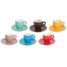 Set de 6 tasses et soucoupes double expresso Barista assorties
