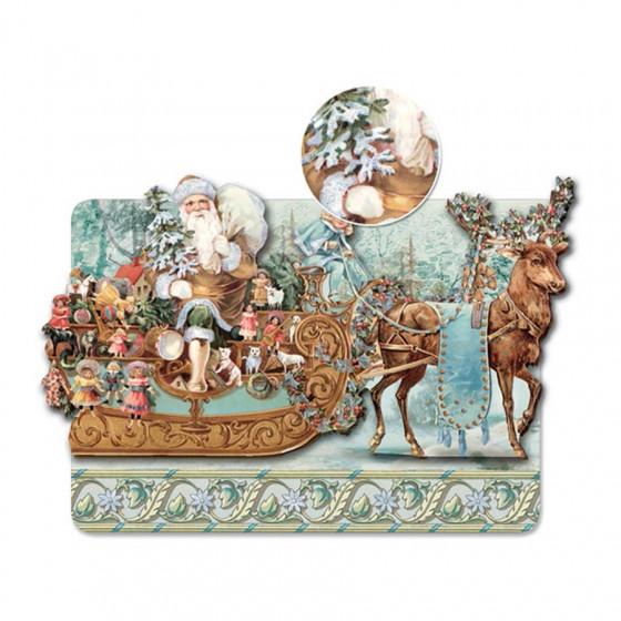 Carte double et son enveloppe Père Noël et traineau en relief