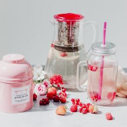 Thé blanc & vert aromatisé bio parfum rose & litchi Tendre Rencontre au Pont des Arts boîte laquée sachets mousseline x15