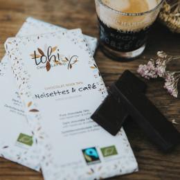 Tablette équitable de chocolat noir 74% noisettes & café bio 70g