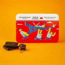 Boîte métal crêpes dentelles enrobées de chocolat noir 90g