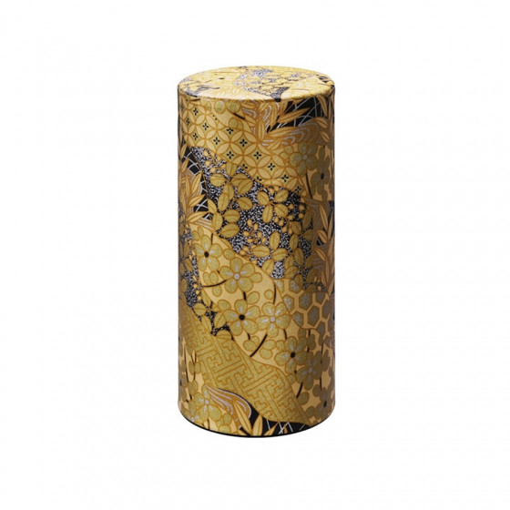 Boîte à thé vide dorée à motifs japonais 200g
