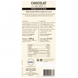 Tablette chocolat au lait 42% 100g