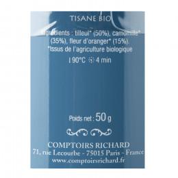 Tisane bio tilleul, camomille & fleur d'oranger Sieste Royale aux Tuileries boîte métal vrac 50g