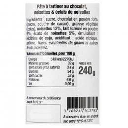 Pâte à tartiner chocolat et éclats de noisettes 240g