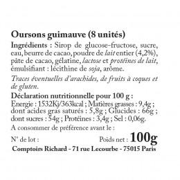 Sachet garni d'oursons guimauve enrobés de chocolat 100g