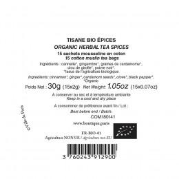 Tisane bio épices Nuit Folle à Montmartre boîte laquée sachets mousseline x15