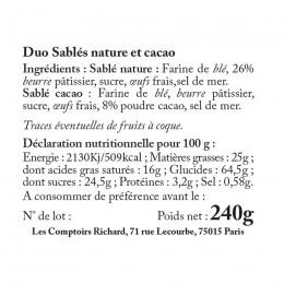 Étui garni de duo sablés nature & sablés cacao 240g