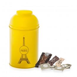 Boîte Tour Eiffel en métal laqué moutarde garnie de gourmandises chocolatées 280g (Offre saisonnière)