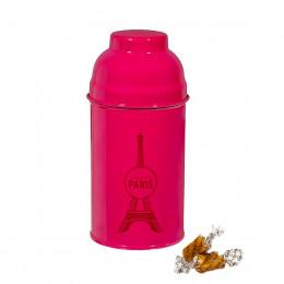Boîte Tour Eiffel en métal laqué framboise garnie de caramels 120g