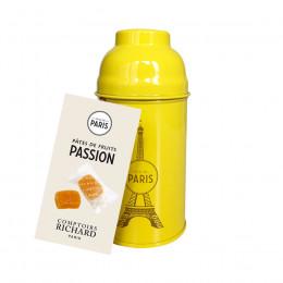 Boîte Tour Eiffel en métal laqué jaune garnie de pâtes de fruits 110g