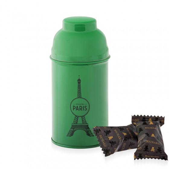 Boîte Tour Eiffel en métal laqué verte garnie d'oursons guimauve 80g