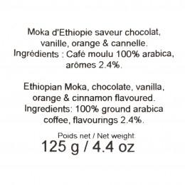 Café moulu Moka d'Ethiopie aromatisé aux épices 125g