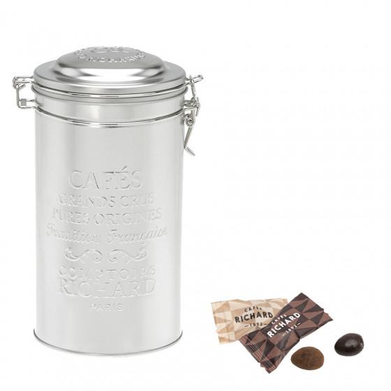 Boîte métal à café garnie de duo d'amandes au chocolat 260g