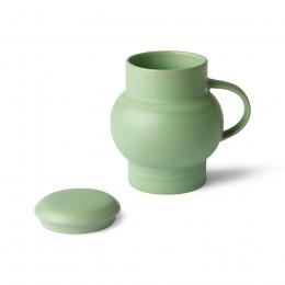 Mug à couvercle en grès vert Bubble 450ml