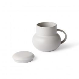 Mug à couvercle en grès gris Bubble 350ml