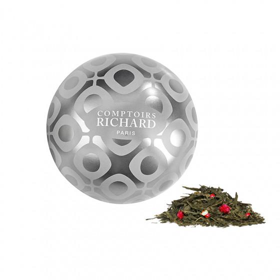 Boule de noël argentée garnie de Thé vert Noël aux Comptoirs 50g