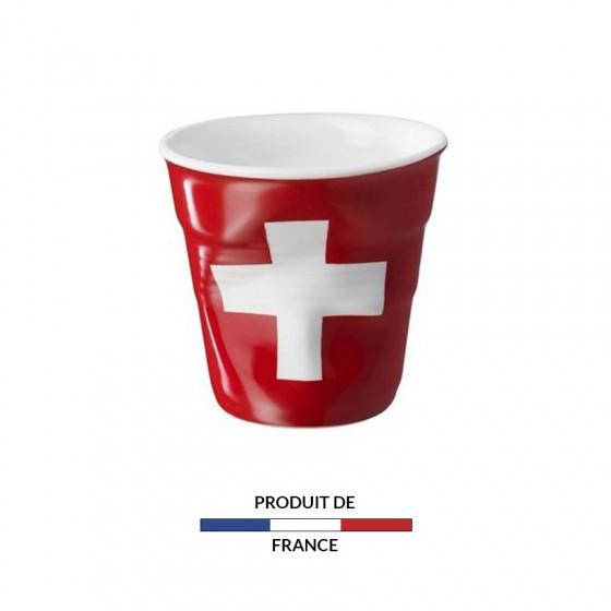 Gobelet froissé expresso drapeau Suisse 8cl
