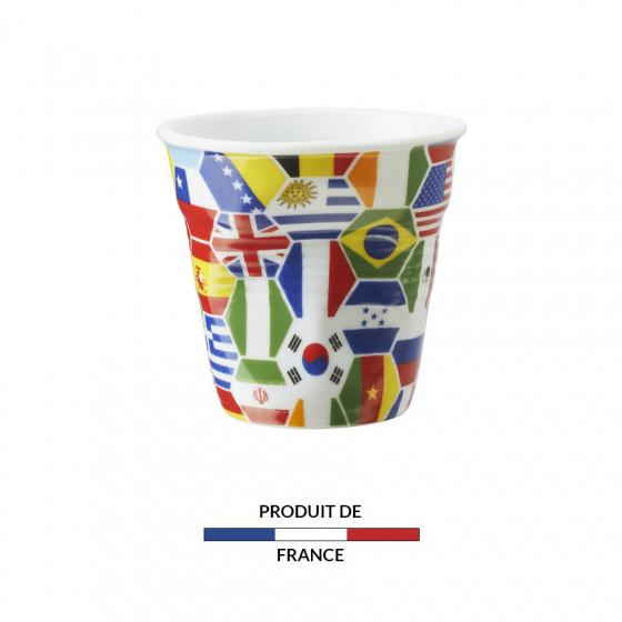 Gobelet froissé expresso drapeaux Nations 8cl