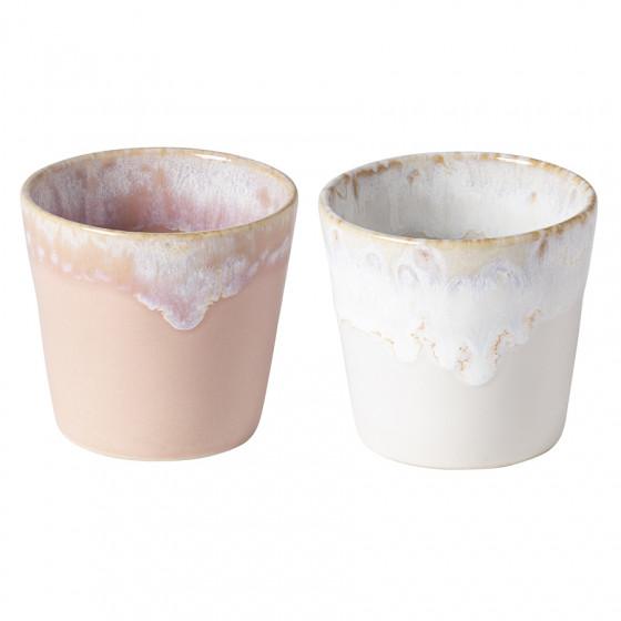 Lot de 2 gobelets en grès blanc et rose 21cl