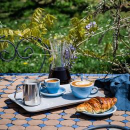 Soucoupe Egg Cappuccino bleu irisé