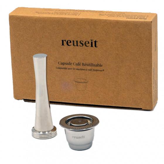 Set capsule réutilisable en inox compatible Nespresso® avec tasseur